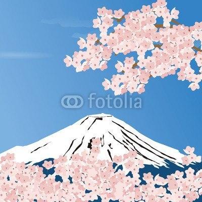 【インテリアシール】富士山と桜 ウォールステッカー