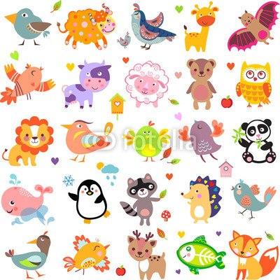 【壁紙】かわいい動物の仲間たち はがせる壁紙