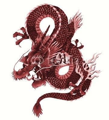 【インテリアシール】猛々しい赤龍 ウォールステッカー
