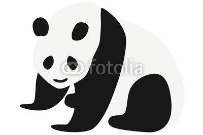 インテリアシールパンダのイラスト 左向き ウォールステッカー