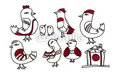 【インテリアシール】赤い鳥たち 壁シール
