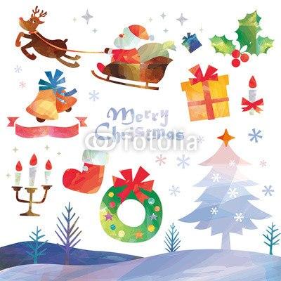 【インテリアシール】クリスマスセット☆空飛ぶサンタのメリークリスマス 壁シール