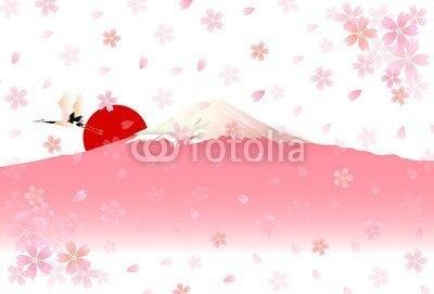 【インテリアシール】桜色の富士山 ウォールステッカー