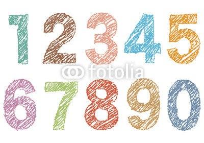インテリアシール塗り絵風の数字 ウォールステッカー
