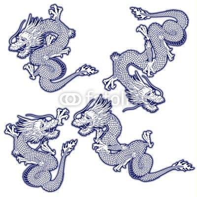 【インテリアシール】龍のイラストセット 壁シール