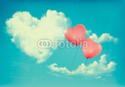 【インテリアシール】ハートの雲と風船 ウォールステッカー