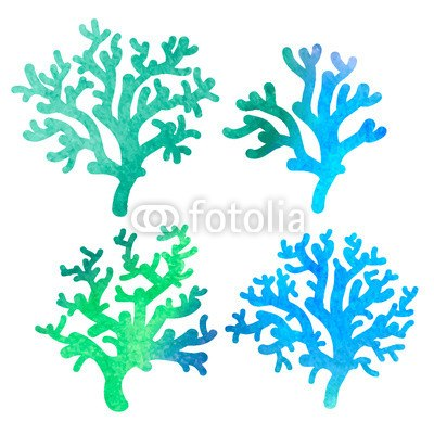 【インテリアシール】グリーンのグラデーション 珊瑚 壁シール