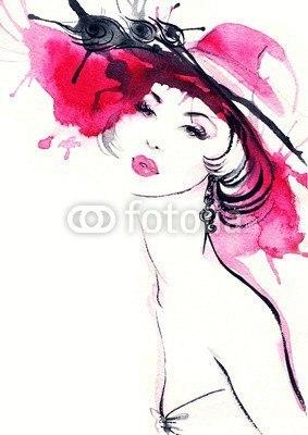 【インテリアシール】赤い帽子の女性 ウォールステッカー