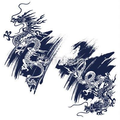 【インテリアシール】二匹の龍 壁シール