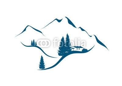 【インテリアシール】雪山のコテージ ウォールステッカー