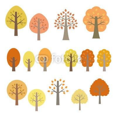 インテリアシール秋の木のイラストセット ウォールステッカー