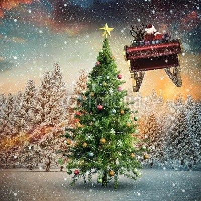 【インテリアシール】雪舞うホワイトクリスマス ウォールステッカー