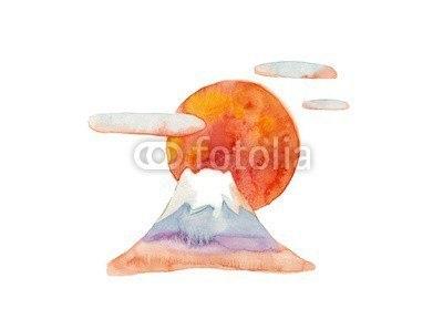 【インテリアシール】富士山と朝日 ウォールステッカー
