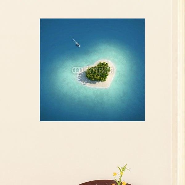 【インテリアポスター】ハート型の島