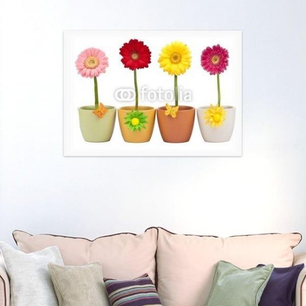 【インテリアポスター】鉢植えのようなカラフルなガーベラ