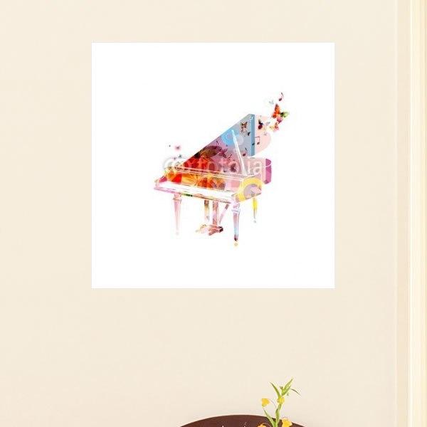 【インテリアポスター】カラフルなピアノとちょう