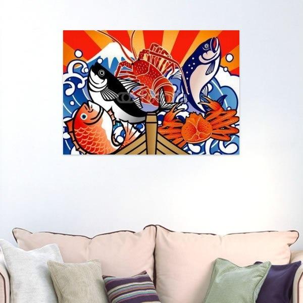 【インテリアポスター】大漁旗5匹