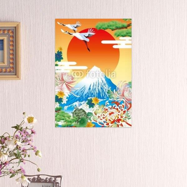インテリアポスター日本の吉祥柄イラスト 富士山松鶴亀 通販