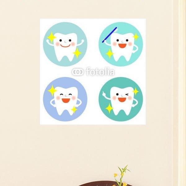 【インテリアポスター】可愛い歯のアイコン