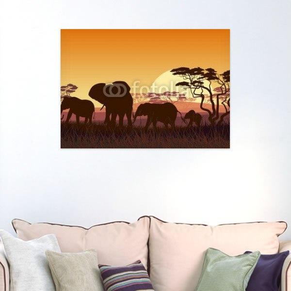 【インテリアポスター】夕日とアフリカゾウポスター