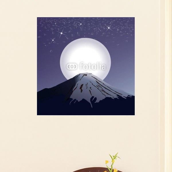 【インテリアポスター】満月と富士山