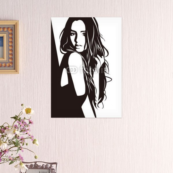 【インテリアポスター】モノトーンの女性ポスター