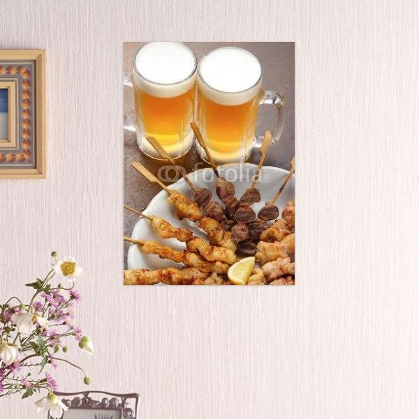 【インテリアポスター】焼鳥とビール