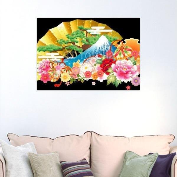 【インテリアポスター】扇子と花
