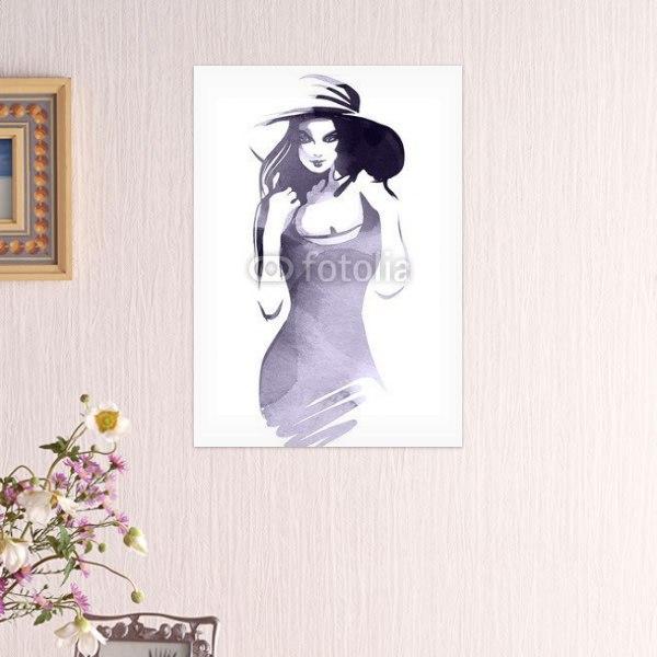 【インテリアポスター】帽子をかぶった女性ポスター