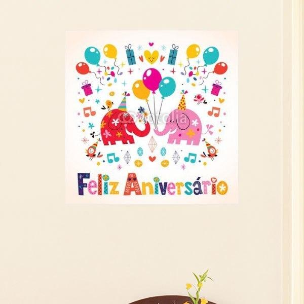 【インテリアポスター】ゾウのハッピーバースデイ ポルトガル語