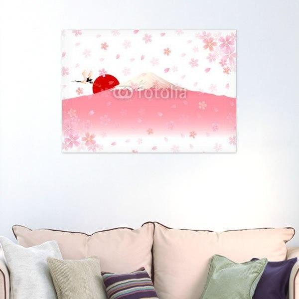 【インテリアポスター】桜色の富士山