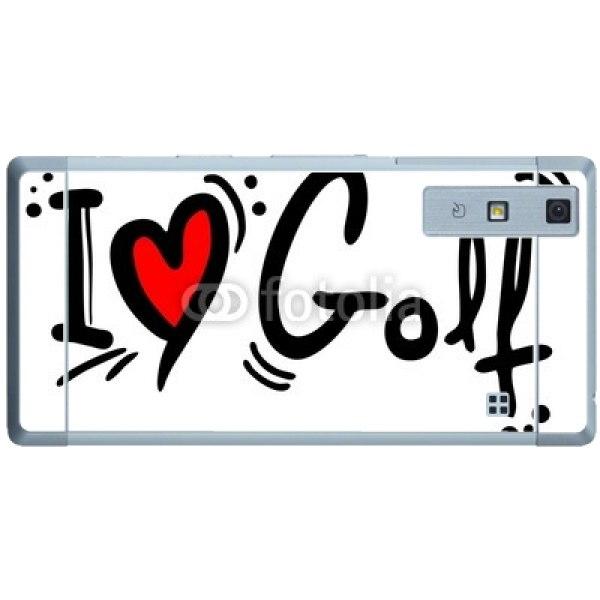 スキンシール au qua phone kyv37 i love ゴルフ