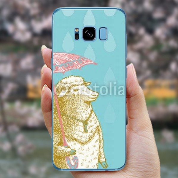 【スキンシール】docomo Galaxy S8 SC-02J 羊と傘