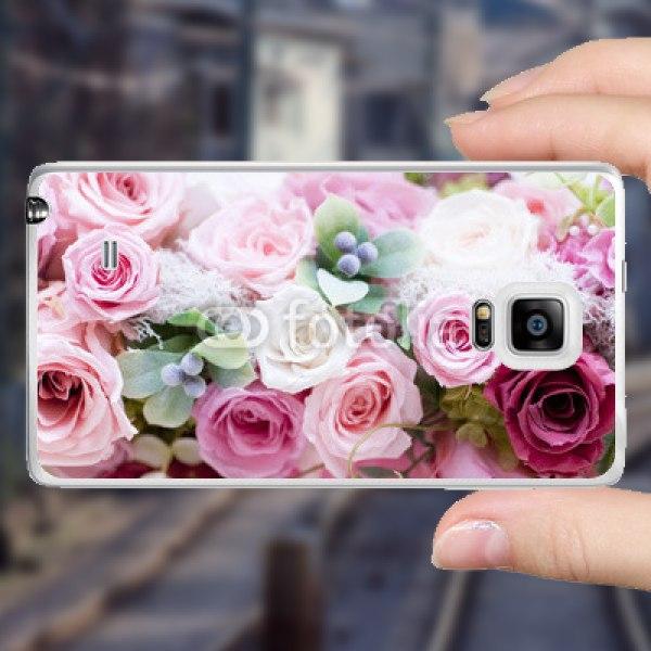 【スキンシール】au GALAXY Note Edge SCL24 かわいさたっぷりのピンクのバラ スキンシール