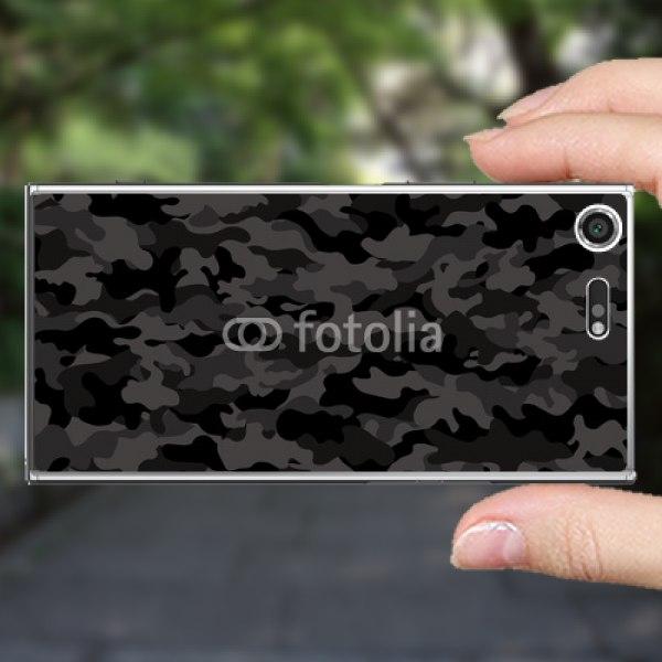 【スキンシール】docomo Xperia XZ Premium SO-04J 迷彩パターン ブラック