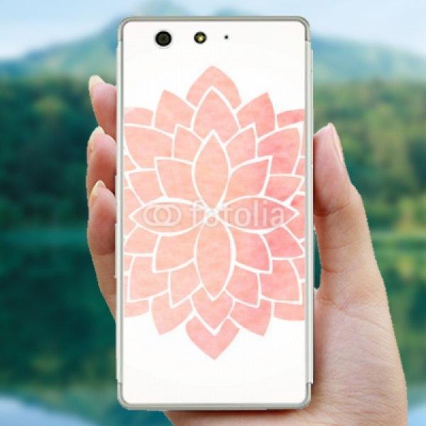 【スキンシール】arrows M03 美しいピンクの蓮の花をイメージした曼荼羅アート