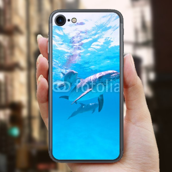 【スキンシール】iPhone 7 群れで泳ぐイルカ