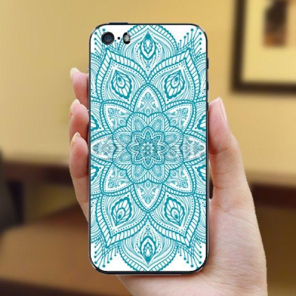 【スキンシール】iPhone SE 心が癒される孔雀の羽をモチーフとした曼荼羅アート
