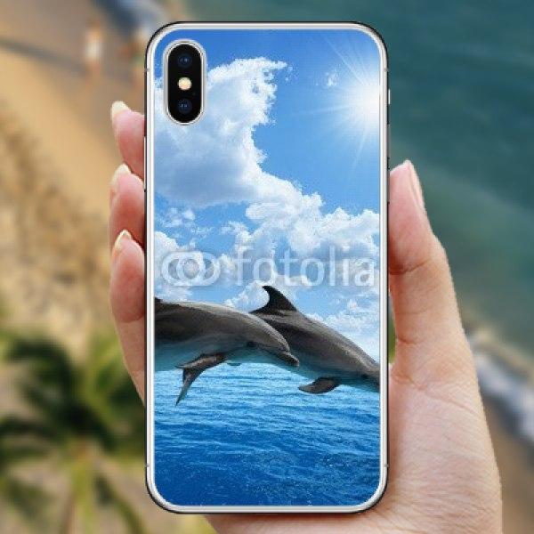 【スキンシール】iPhone X 青い空とイルカのジャンプ