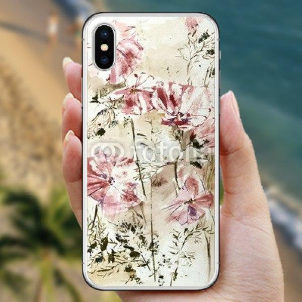 【スキンシール】iPhone X コスモスのスケッチ