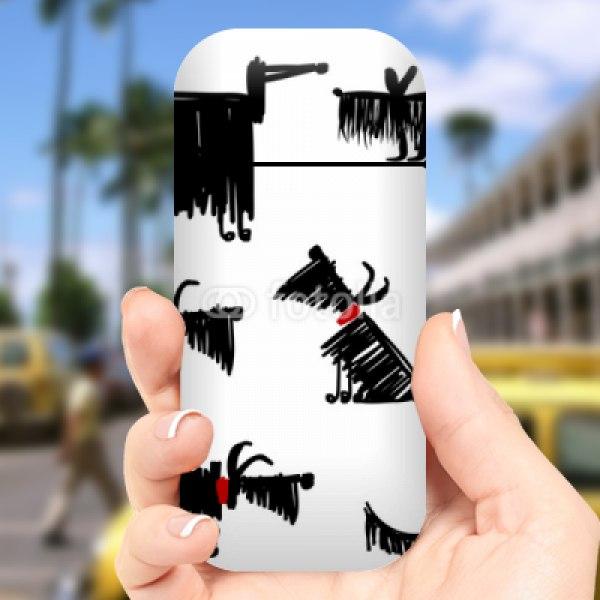 【スキンシール】アイコス かわいい犬のラフスケッチ