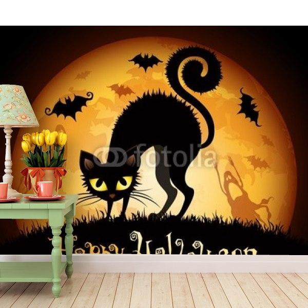 壁紙ハロウィンイラスト黒猫 はがせる壁紙