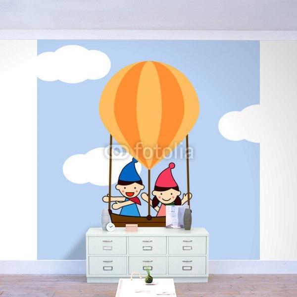 【壁紙】気球に乗ってどこまでもはがせる壁紙