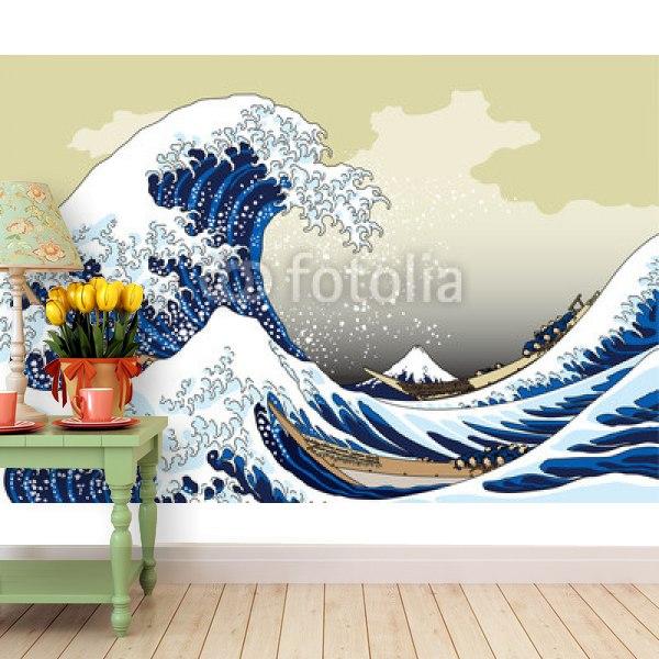 【壁紙】富嶽三十六景 神奈川沖浪 イメージはがせる壁紙