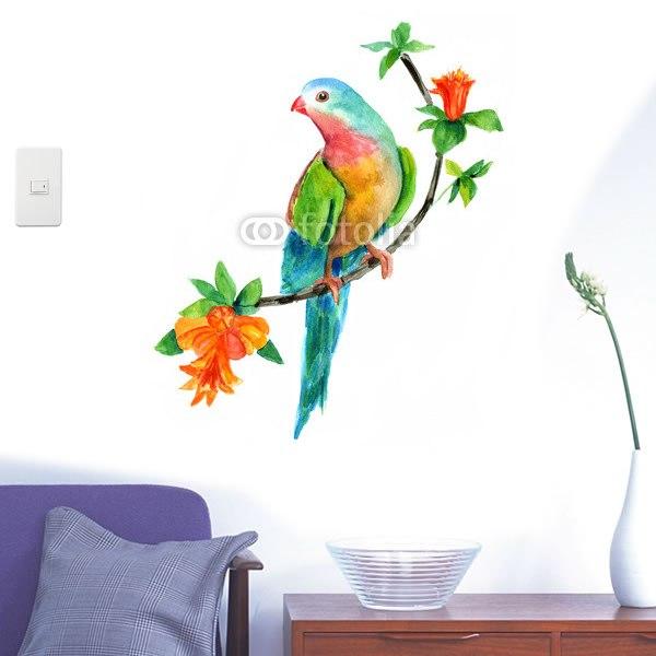 【インテリアシール】オレンジの花と美しい鳥 壁シール