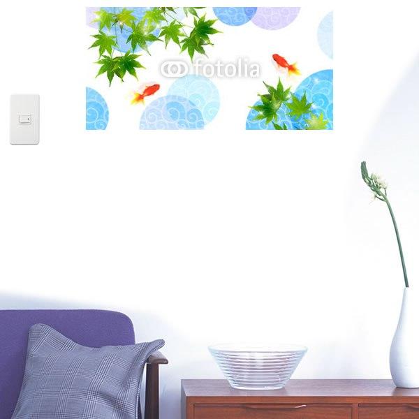 【インテリアシール】金魚と夏のもみじ 壁シール