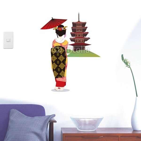 【インテリアシール】五重塔と舞妓 壁シール