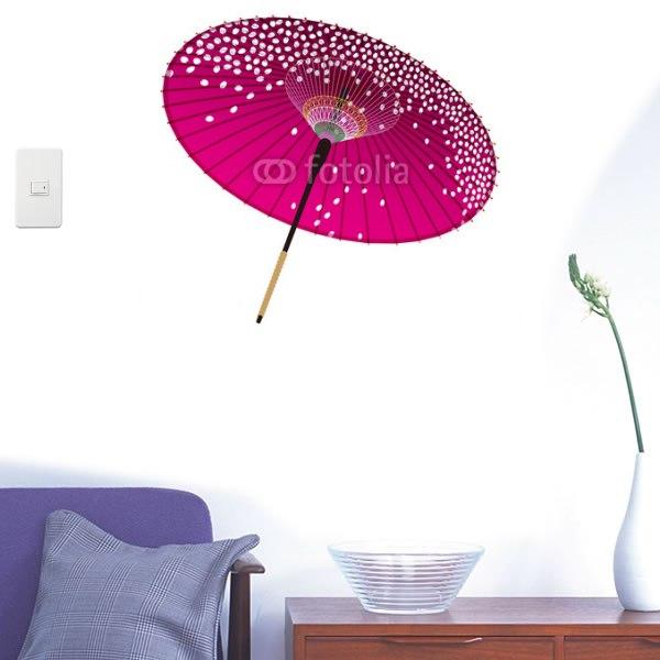 【インテリアシール】紫の和傘 壁シール