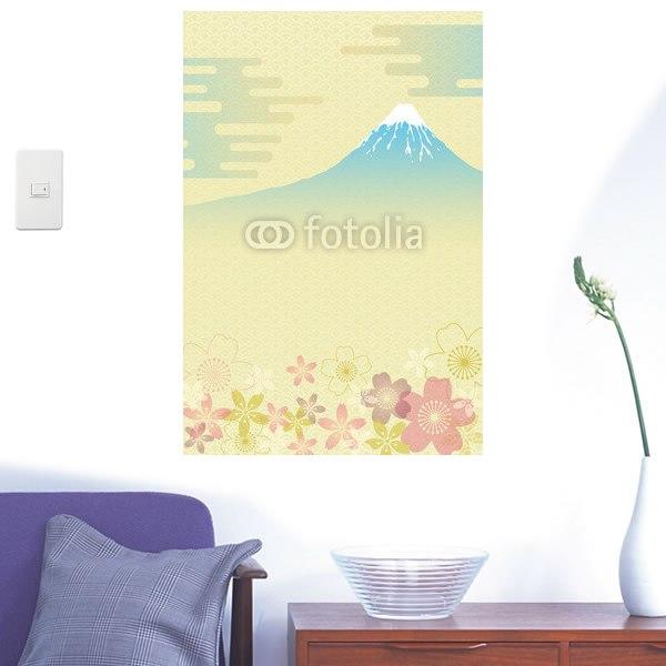 【インテリアシール】和柄の富士と桜 壁シール