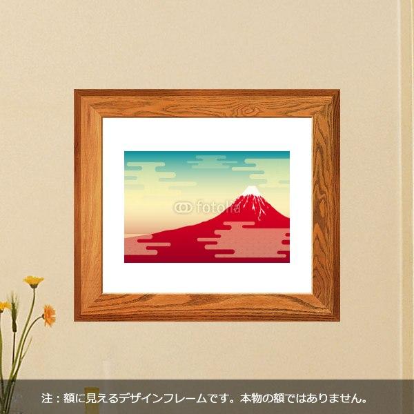 【インテリアシール】赤富士の風景 壁シール